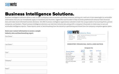 Screenshot of Landing Page sageworks.com - Business Intelligence Solutions - captured Sept. 26, 2016