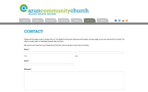 Screenshot of Contact Page aruncommunitychurch.com - Arun Community Church   Contact - captured May 30, 2017