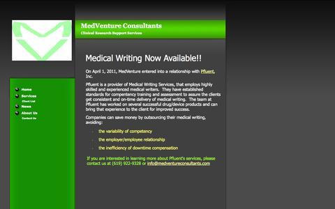 Screenshot of Press Page medventureconsultants.com - MedVenture Consultants News - captured Oct. 27, 2014