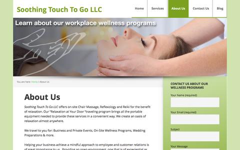 Screenshot of About Page soothingtouchtogo.com - About Us - Soothing Touch To Go LLC - captured Jan. 11, 2016
