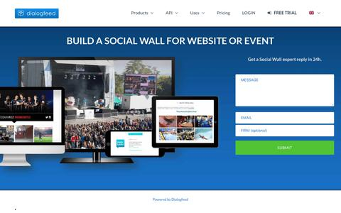 Screenshot of Home Page dialogfeed.com - Dialogfeed - Social Wall. For Website, API or Event. ⋆ - captured Oct. 12, 2017