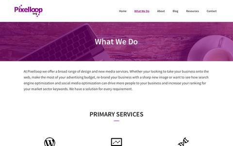 Screenshot of Services Page pixelloop.org - Pixelloop Services: Web Design, Wordpress, Inbound Marketing - captured May 18, 2017