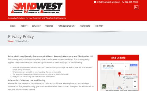 Screenshot of Privacy Page midwestawd.com - Privacy Policy – Midwest Assembly, Warehouse and Distribution - captured Oct. 18, 2018