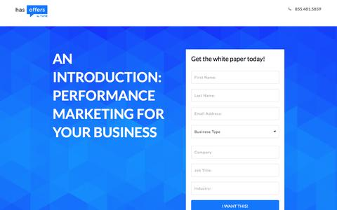 Screenshot of Landing Page tune.com - An Introduction: Performance Marketing for Your Business - captured Jan. 3, 2017