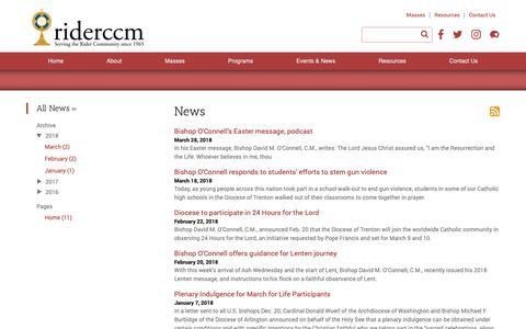 Screenshot of Press Page riderccm.org - News - captured Sept. 27, 2018