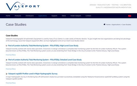 Screenshot of Case Studies Page valeport.co.uk - Oceanographic, Hydrographic & Hydrometric Case Studies - captured Sept. 20, 2018