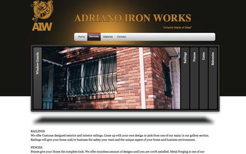 Screenshot of Services Page adrianoironworks.com - Services | Adriano Iron Works - captured Feb. 5, 2016