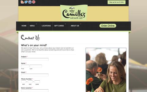 Screenshot of Contact Page camillescafe.com - Contact Us | Camilles Sidewalk Cafe - captured Oct. 20, 2016