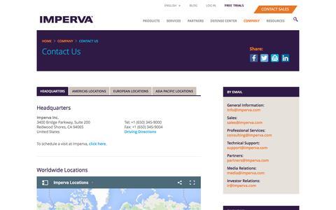 Screenshot of Contact Page imperva.com - Contact - captured Nov. 10, 2015