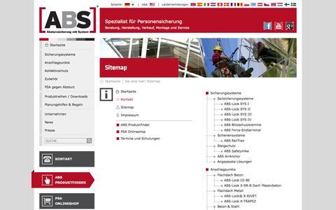 Screenshot of Site Map Page absturzsicherung.de - ABS Absturzsicherung - Sitemap - captured Oct. 4, 2014