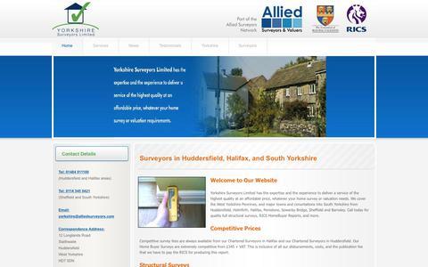 Screenshot of Home Page yorkshiresurveyors.com - Chartered Surveyors in Huddersfield : Yorkshire Surveyors Limited - captured Oct. 2, 2018