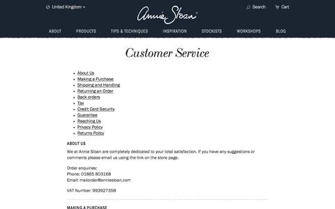 Screenshot of Support Page anniesloan.com - Annie Sloan | Customer Service - captured Jan. 20, 2016