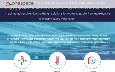 Screenshot of Home Page one-space.com - One Space | Architecture + Interior Design + Technology - captured Oct. 5, 2016