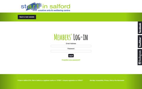 Screenshot of Login Page startinsalford.org.uk - Members' Log-in | Start in Salford Members' Hub - captured Aug. 16, 2016