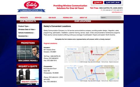 Screenshot of Locations Page gately.com - Office Locations | Gately Communications Co - captured Oct. 26, 2016