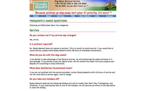 Screenshot of FAQ Page doodymaster.com - Frequently Asked Questions - DoodyMaster - captured Oct. 9, 2014