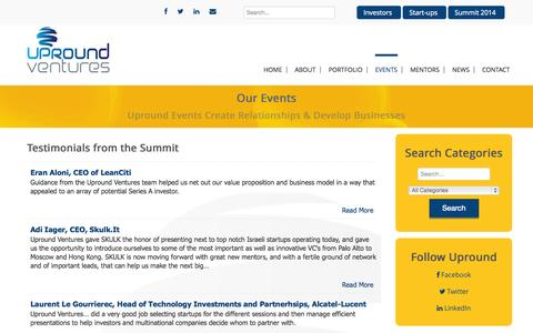 Screenshot of Testimonials Page uproundventures.com - Upround Ventures - Testimonials from the Summit - captured Nov. 5, 2014