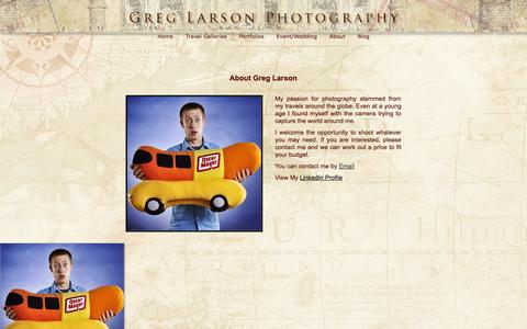 Screenshot of About Page glarsonphoto.com - About Page - Greg Larson Photography - captured Oct. 3, 2014
