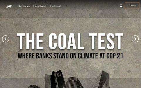 Screenshot of Home Page ran.org - Rainforest Action Network - captured Dec. 10, 2015