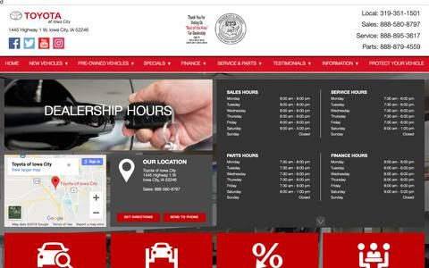 Screenshot of Hours Page toyotaiowacity.com - Hours of Operation - Toyota Of Iowa City - captured Oct. 20, 2018
