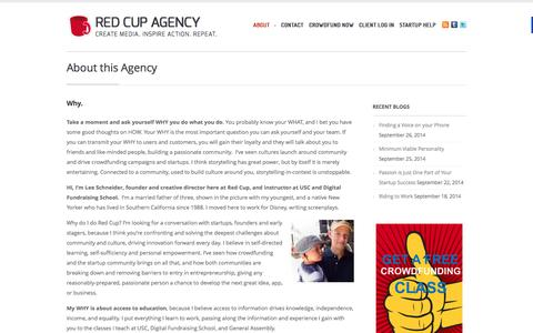 Screenshot of About Page redcupagency.com - Red Cup Agency - Serving Startups in Los Angeles - captured Sept. 30, 2014