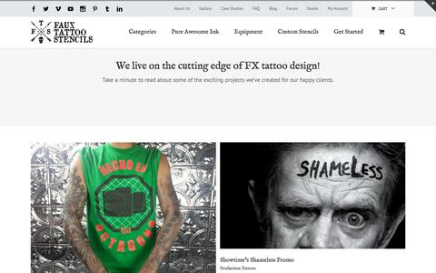 Screenshot of Case Studies Page fauxtattoostencils.com - FTS Case Studies | Faux Tattoo Stencils - captured Aug. 3, 2016