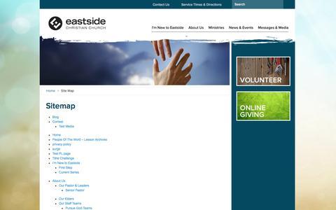 Screenshot of Site Map Page eastside.com - Site Map | Eastside Christian Church - captured Oct. 1, 2014