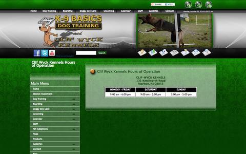 Screenshot of Hours Page k9basics.com - Boarding Hours of Operation | K9 Basics | Clif Wyck Kennels | Marlton NJ - captured Oct. 6, 2014