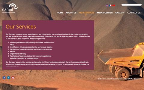 Screenshot of Services Page camaltd.com - Our Services   China Africa Merchants Advisors Limited (CAMAL) - captured Oct. 2, 2014