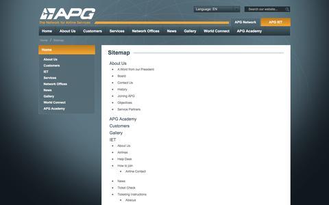 Screenshot of Site Map Page apg-ga.com - Sitemap - APG Network - Airline Representation - captured Nov. 19, 2016