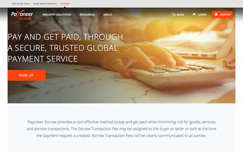 Screenshot of Pricing Page payoneer.com - All You Need to Know about Escrow Fees & Prices | Payoneer Escrow - captured July 30, 2018