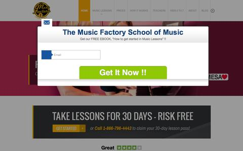 Screenshot of Home Page themusicfactoryoc.com - Music School, Private Lessons, Risk Free Rate  The Music Factory OC - captured Feb. 15, 2016