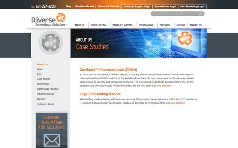 Screenshot of Case Studies Page diverse-technology.com - Case Studies | Diverse Technology Solutions - captured Oct. 5, 2014