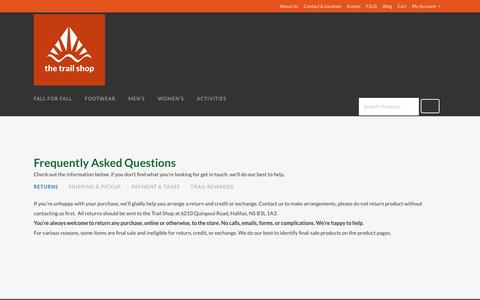 Screenshot of FAQ Page trailshop.com - The Trail Shop |   F.A.Q. - captured Sept. 27, 2016