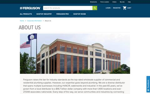 Screenshot of About Page ferguson.com - About Ferguson Enterprises - captured May 2, 2019