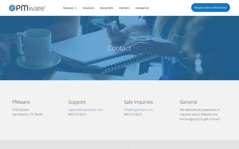 Screenshot of Contact Page mypmware.com - Contact Us - PMware - Enterprise Project Management Software Solutions - captured Oct. 12, 2018