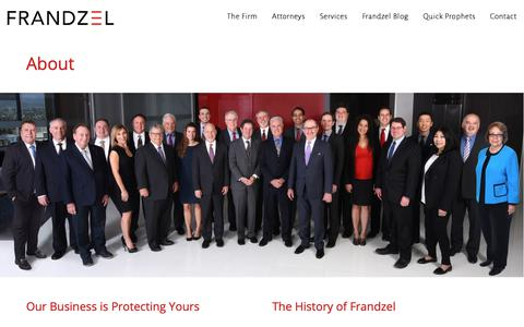 Screenshot of About Page frandzel.com - About - Frandzel, Attorneys at Law - captured Oct. 11, 2018