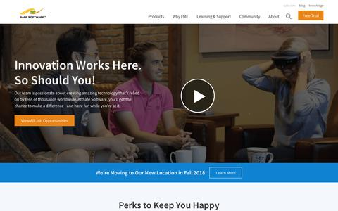 Screenshot of Jobs Page safe.com - Careers | Safe Software - captured Sept. 14, 2018