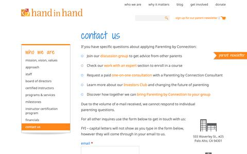 Screenshot of Contact Page handinhandparenting.org - Contact for Hand in Hand Parenting | Improve Parent Child Connections and Communications | Palo Alto, CA - captured June 12, 2019