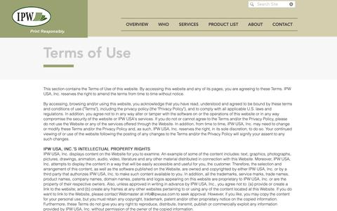 Screenshot of Terms Page ipwusa.com - Terms of Use - captured Oct. 11, 2018