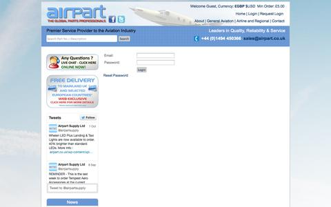 Screenshot of Login Page airpart.co.uk - Airpart Supply Logintest - captured Oct. 4, 2014
