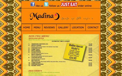 Screenshot of Menu Page madina.ie - Menu - captured Oct. 3, 2014