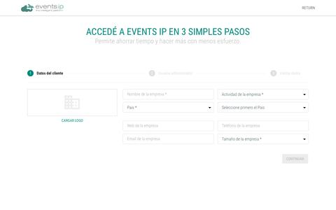 Screenshot of Signup Page eventsip.com - Events IP - The intelligent Platform - captured Nov. 23, 2017
