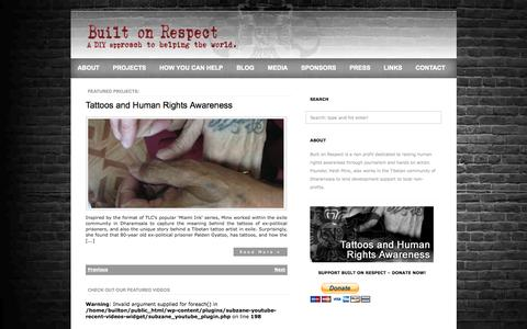 Screenshot of Home Page builtonrespect.com - Built On Respect - captured Sept. 30, 2014