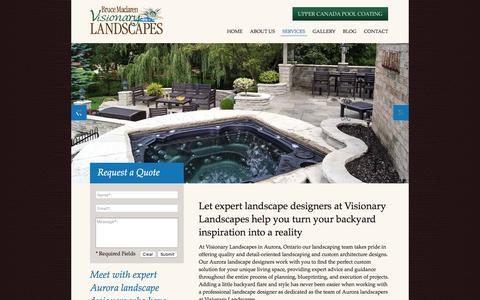 Screenshot of Services Page visionarylandscapes.ca - Landscape Design Aurora Ontario - captured Nov. 23, 2016