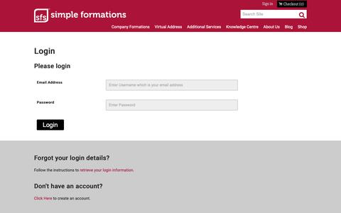 Screenshot of Login Page simpleformations.com captured Oct. 20, 2018