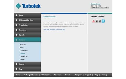 Screenshot of Jobs Page turbotekcomputer.com - Small Business IT Careers - captured Nov. 16, 2018