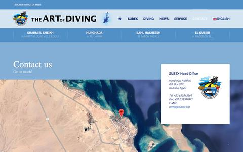 Screenshot of Contact Page subex.org - Contact any of our 5 SUBEX Diving Centers on the Red Sea in Egypt - captured June 29, 2018