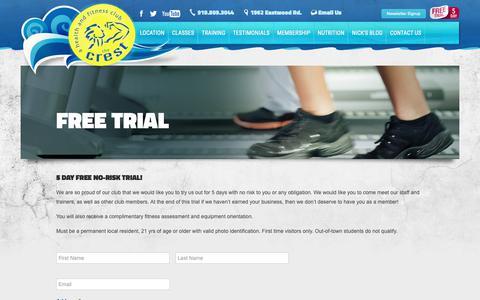 Screenshot of Trial Page crestfitness.com - Free Trial - captured Nov. 18, 2018