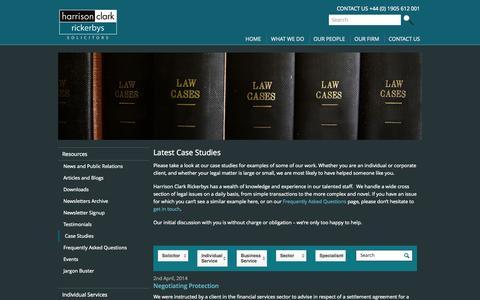 Screenshot of Case Studies Page hcrlaw.com - Case Studies - Harrison Clark Rickerbys - captured Sept. 25, 2014
